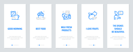 Good morning, Best food, Milk fresh products, I love fruits, The dishes should be beautiful, the rest is not important Vertical Cards with strong metaphors. Template for website design.