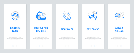 Barbecue Party, Pub food and best beer, Steak house, Best snacks, Burgers are love Vertical Cards with strong metaphors. Template for website design.