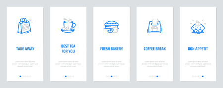 Take away, Best tea for you, Fresh bakery, Coffee break, Bon Appetit Vertical Cards with strong metaphors. Template for website design. Ilustracja