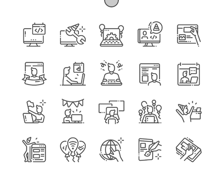 Webmasters Day Well-crafted Pixel Perfect Vector Thin Line Icons 30 2x Grid for Web Graphics and Apps. Simple Minimal Pictogram