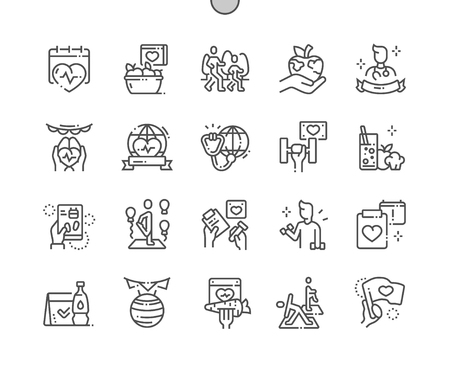 World Health Day Well-crafted Pixel Perfect Vector Thin Line Icons 30 2x Grid for Web Graphics and Apps. Simple Minimal Pictogram