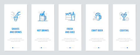 Shakes, Hot drinks, Fresh, Craft Beer, Cocktail Vertical Cards with strong metaphors. Template for website design. Vectores