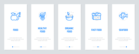 Healthy, Organic, Fast food, Seafood Vertical Cards with strong metaphors. Template for website design. Illustration