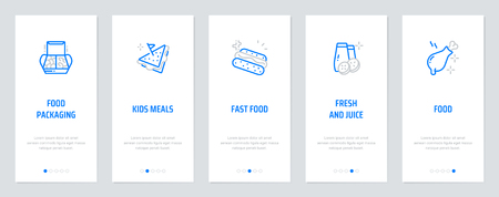 Food packaging, Kids Meals, Fresh and Juice Vertical Cards with strong metaphors. Template for website design. Standard-Bild - 125234425
