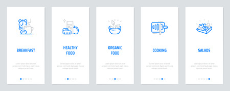 Breakfast, Healthy, Organic food, Cooking, Salads Vertical Cards with strong metaphors. Template for website design.
