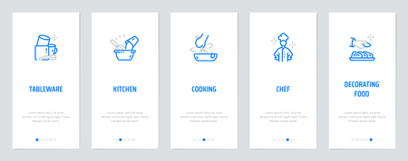 Tableware, Kitchen, Cooking, Chef, Decorating food Vertical Cards with strong metaphors. Template for website design. Stock Illustratie
