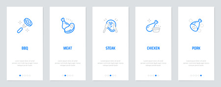 BBQ, Meat, Steak, Chicken, Pork Vertical Cards with strong metaphors. Template for website design.