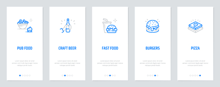Pub Food, Craft Beer, Burgers, Pizza Vertical Cards with strong metaphors. Template for website design. Banque d'images - 125234430