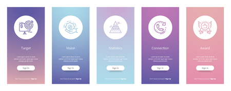 Target, Vision, Statistics, Connection, Award Vertical Cards with strong metaphors.