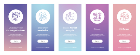 Cryptocurrency Exchange Platform, Blockchain Revolution, Bitcoin Market Analysis, Bitcoin, ICO Token Vertical Cards with strong metaphors. Template for website design.