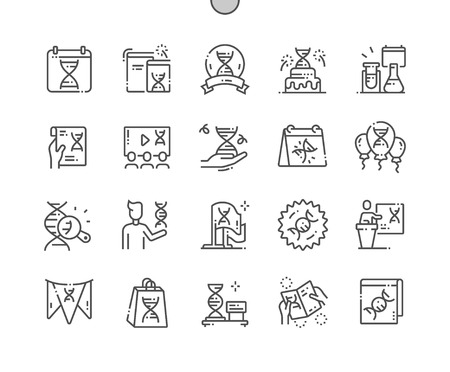 DNA Day Well-crafted Pixel Perfect Vector Thin Line Icons 30 2x Grid for Web Graphics and Apps. Simple Minimal Pictogram