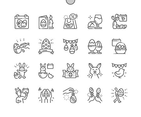 Pascua Iconos de líneas finas de píxeles perfectos vectoriales bien elaborados Cuadrícula de 30 2x para gráficos y aplicaciones web. Pictograma mínimo simple