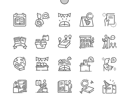 World Book and Copyright Day Well-crafted Pixel Perfect Vector Thin Line Icons 30 2x Grid for Web Graphics and Apps. Simple Minimal Pictogram Stock Illustratie