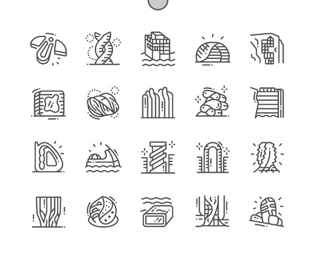 Future architecture Well-crafted Pixel Perfect Vector Thin Line Icons 30 2x Grid for Web Graphics and Apps. Simple Minimal Pictogram  イラスト・ベクター素材