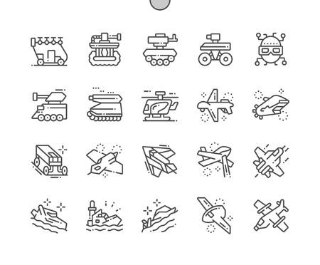Équipement militaire du futur Pixel Perfect Vector Thin Line Icons 30 2x Grid for Web Graphics and Apps. Pictogramme minimal simple Vecteurs