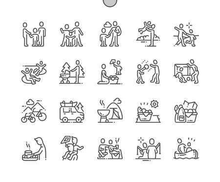 Ricreazione all'aperto per la famiglia Pixel ben congegnato Vettore perfetto Linea sottile Icone 30 Griglia 2x per grafica Web e app. Pittogramma minimale semplice
