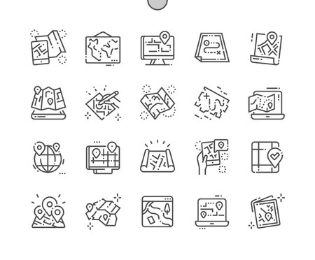 Paper and electronic maps Well-crafted Pixel Perfect Vector Thin Line Icons 30 2x Grid for Web Graphics and Apps. Simple Minimal Pictogram Ilustração