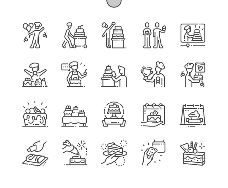 Confectioners Day Well-crafted Pixel Perfect Vector Thin Line Icons 30 2x Grid for Web Graphics and Apps. Simple Minimal Pictogram
