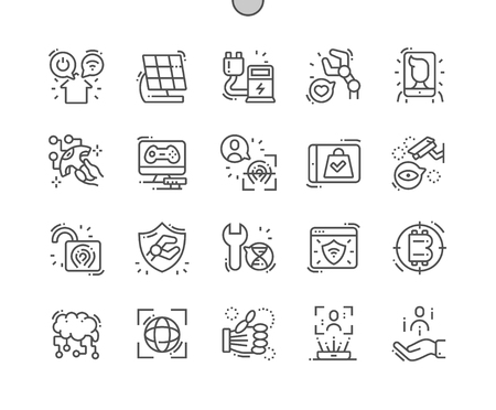 Future industry Well-crafted Pixel Perfect Vector Thin Line Icons 30 2x Grid for Web Graphics and Apps. Simple Minimal Pictogram