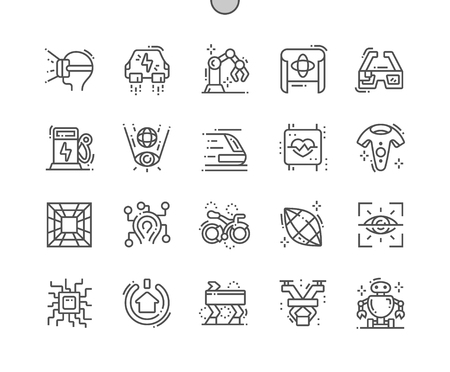Technologies of the future Well-crafted Pixel Perfect Vector Thin Line Icons 30 2x Grid for Web Graphics and Apps. Simple Minimal Pictogram 스톡 콘텐츠 - 124095073