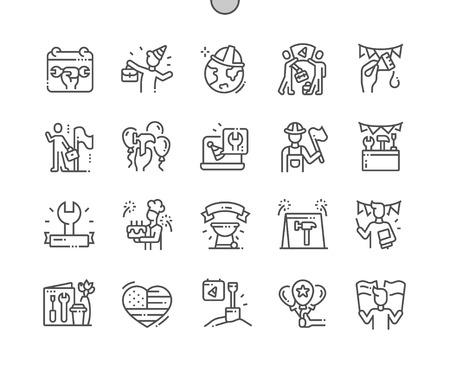 International Labor Day Well-crafted Pixel Perfect Vector Thin Line Icons 30 2x Grid for Web Graphics and Apps. Simple Minimal Pictogram Ilustração