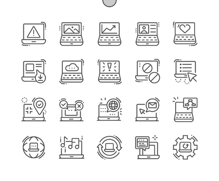 Laptop Well-crafted Pixel Perfect Vector Thin Line Icons 30 2x Grid for Web Graphics and Apps. Simple Minimal Pictogram