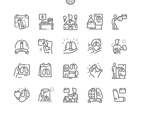 World Asthma Day Well-crafted Pixel Perfect Vector Thin Line Icons 30 2x Grid for Web Graphics and Apps. Simple Minimal Pictogram
