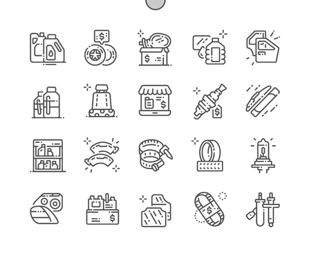 Car parts shop Well-crafted Pixel Perfect Vector Thin Line Icons 30 2x Grid for Web Graphics and Apps. Simple Minimal Pictogram