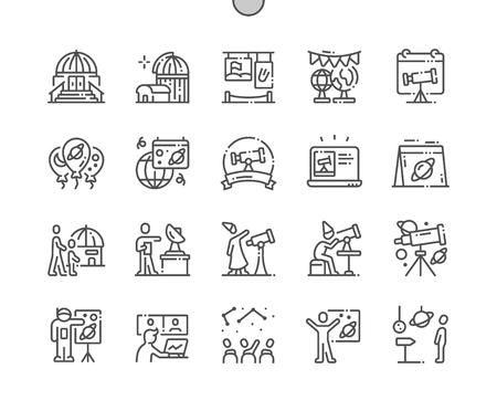 Journée de l'astronomie Icônes de fine ligne vectorielles parfaites de pixels bien conçues 30 Grille 2x pour les graphiques et les applications Web. Pictogramme minimal simple