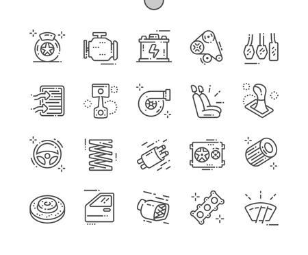 Części samochodowe Dobrze wykonane Pixel Perfect Vector Cienka linia Ikony 30 2x siatka do grafiki internetowej i aplikacji. Prosty minimalny piktogram