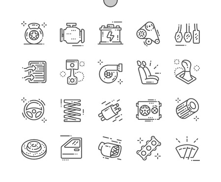 Pièces automobiles Pixel Perfect Vector Thin Line Icons 30 2x Grid for Web Graphics and Apps. Pictogramme minimal simple