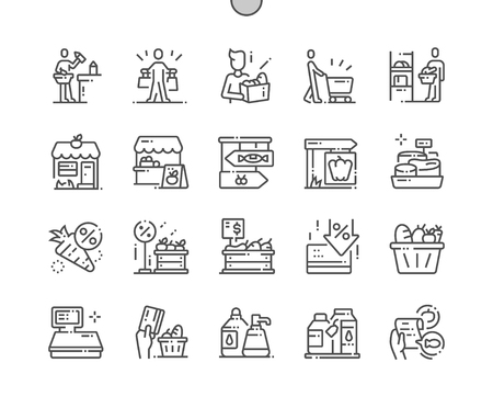 Lebensmittelgeschäft Gut gestaltete Pixel Perfect Vector Thin Line Icons 30 2x Raster für Webgrafiken und Apps. Einfaches minimales Piktogramm