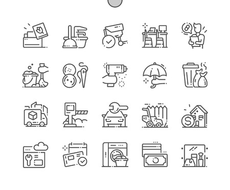 Services Well-crafted Pixel Perfect Vector Thin Line Icons 30 2x Grid for Web Graphics and Apps. Simple Minimal Pictogram Illustration