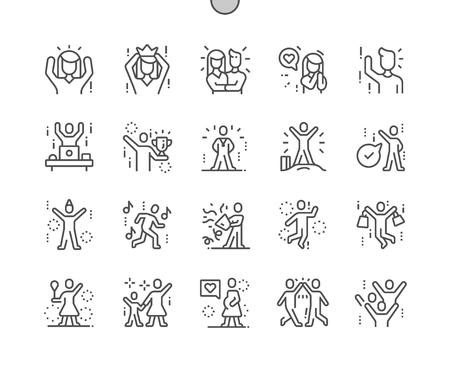 Joyful people Well-crafted Pixel Perfect Vector Thin Line Icons 30 2x Grid for Web Graphics and Apps. Simple Minimal Pictogram Vettoriali