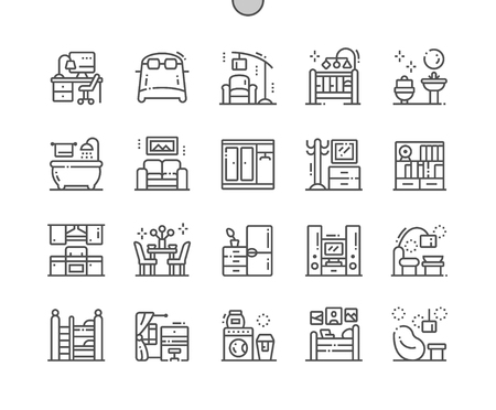 Home Room Types Well-crafted Pixel Perfect Vector Thin Line Icons 30 2x Grid for Web Graphics and Apps. Simple Minimal Pictogram Illustration