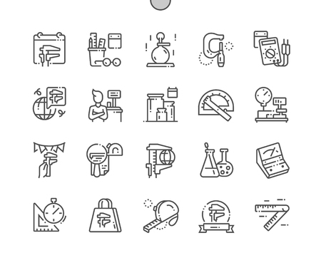Giornata mondiale della metrologia Icone pixel ben realizzate con linee sottili vettoriali perfette 30 Griglia 2x per grafica Web e app. Pittogramma minimale semplice Vettoriali