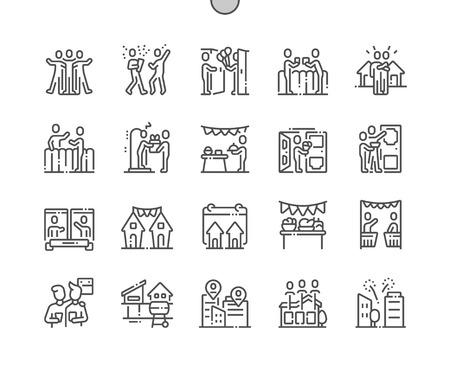 Giornata europea dei vicini pixel ben realizzati vettore perfetto sottile linea icone 30 2x griglia per grafica web e app. Pittogramma minimale semplice