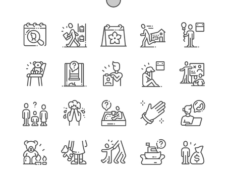 International Missing Children's Day Well-crafted Pixel Perfect Vector Thin Line Icons 30 2x Grid for Web Graphics and Apps. Simple Minimal Pictogram Standard-Bild - 121466604