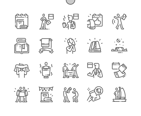 Towel Day Well-crafted Pixel Perfect Vector Thin Line Icons 30 2x Grid for Web Graphics and Apps. Simple Minimal Pictogram