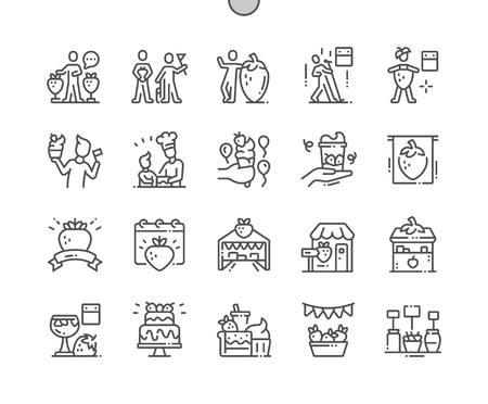 Erdbeerfest Well-crafted Pixel Perfect Vector Thin Line Icons 30 2x Grid for Web Graphics and Apps. Simple Minimal Pictogram Ilustração