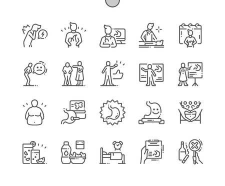 World Digestive Health Day Well-crafted Pixel Perfect Vector Thin Line Icons 30 2x Grid for Web Graphics and Apps. Simple Minimal Pictogram Standard-Bild - 122980258