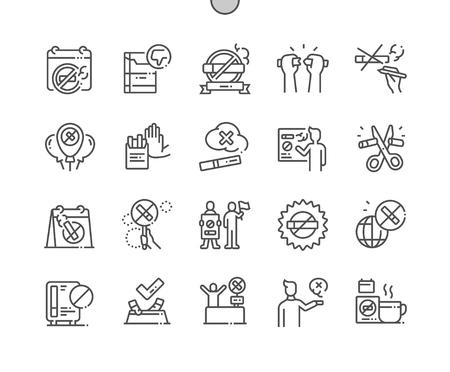 Día Mundial Sin Tabaco Iconos de líneas finas de píxeles perfectos vectoriales bien elaborados Cuadrícula de 30 2x para gráficos y aplicaciones web. Pictograma mínimo simple