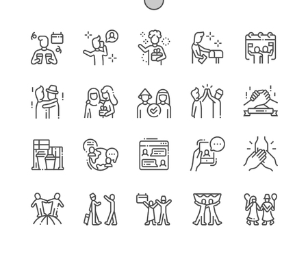 International Friends Day Well-crafted Pixel Perfect Vector Thin Line Icons 30 2x Grid for Web Graphics and Apps. Simple Minimal Pictogram