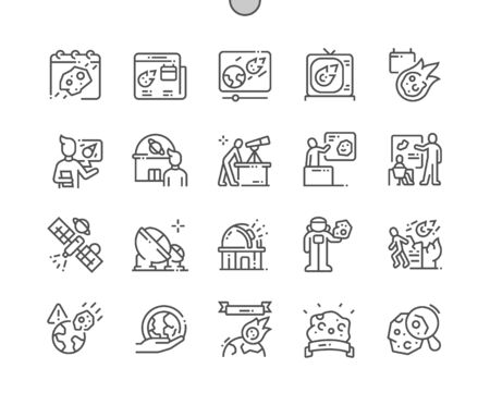 Asteroid Day Well-crafted Pixel Perfect Vector Thin Line Icons 30 2x Grid for Web Graphics and Apps. Simple Minimal Pictogram Ilustrace