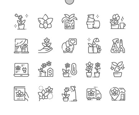 Orchids Well-crafted Pixel Perfect Vector Thin Line Icons 30 2x Grid for Web Graphics and Apps. Simple Minimal Pictogram