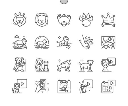 Lion Leader Well-crafted Pixel Perfect Vector Thin Line Icons 30 2x Grid for Web Graphics and Apps. Simple Minimal Pictogram