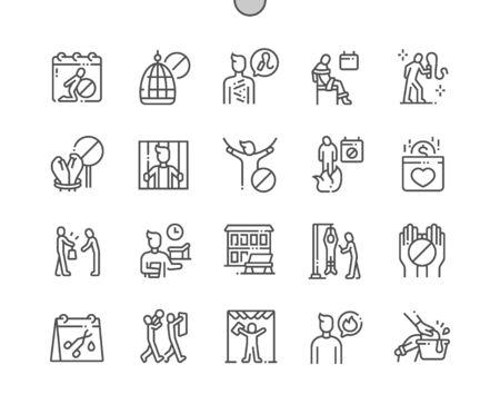 Journée internationale de soutien aux victimes de la torture Icônes de fine ligne vectorielles parfaites de pixels bien conçues 30 Grille 2x pour les graphiques et les applications Web. Pictogramme minimal simple Vecteurs
