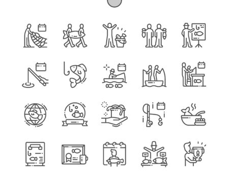 World Fisheries Day Well-crafted Pixel Perfect Vector Thin Line Icons 30 2x Grid for Web Graphics and Apps. Simple Minimal Pictogram Illustration