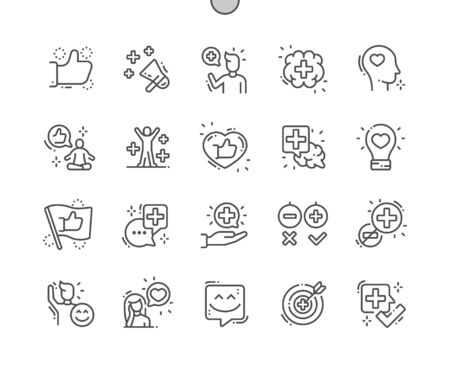 Positive thinking Well-crafted Pixel Perfect Vector Thin Line Icons 30 2x Grid for Web Graphics and Apps. Simple Minimal Pictogram Illustration