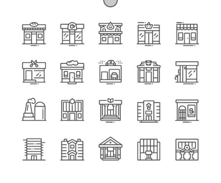 Commercial buildings Well-crafted Pixel Perfect Vector Thin Line Icons 30 2x Grid for Web Graphics and Apps. Simple Minimal Pictogram
